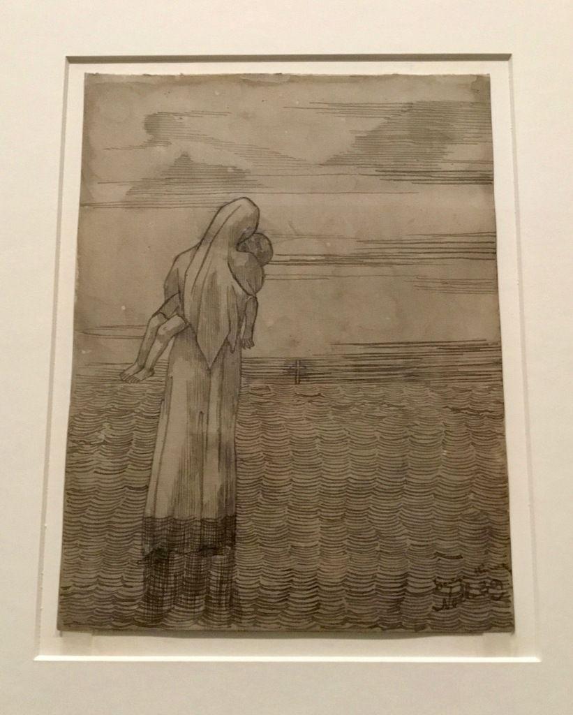 G. Minne, Mère portant un enfant dans ses bas, 1889, Encre grise sur papier