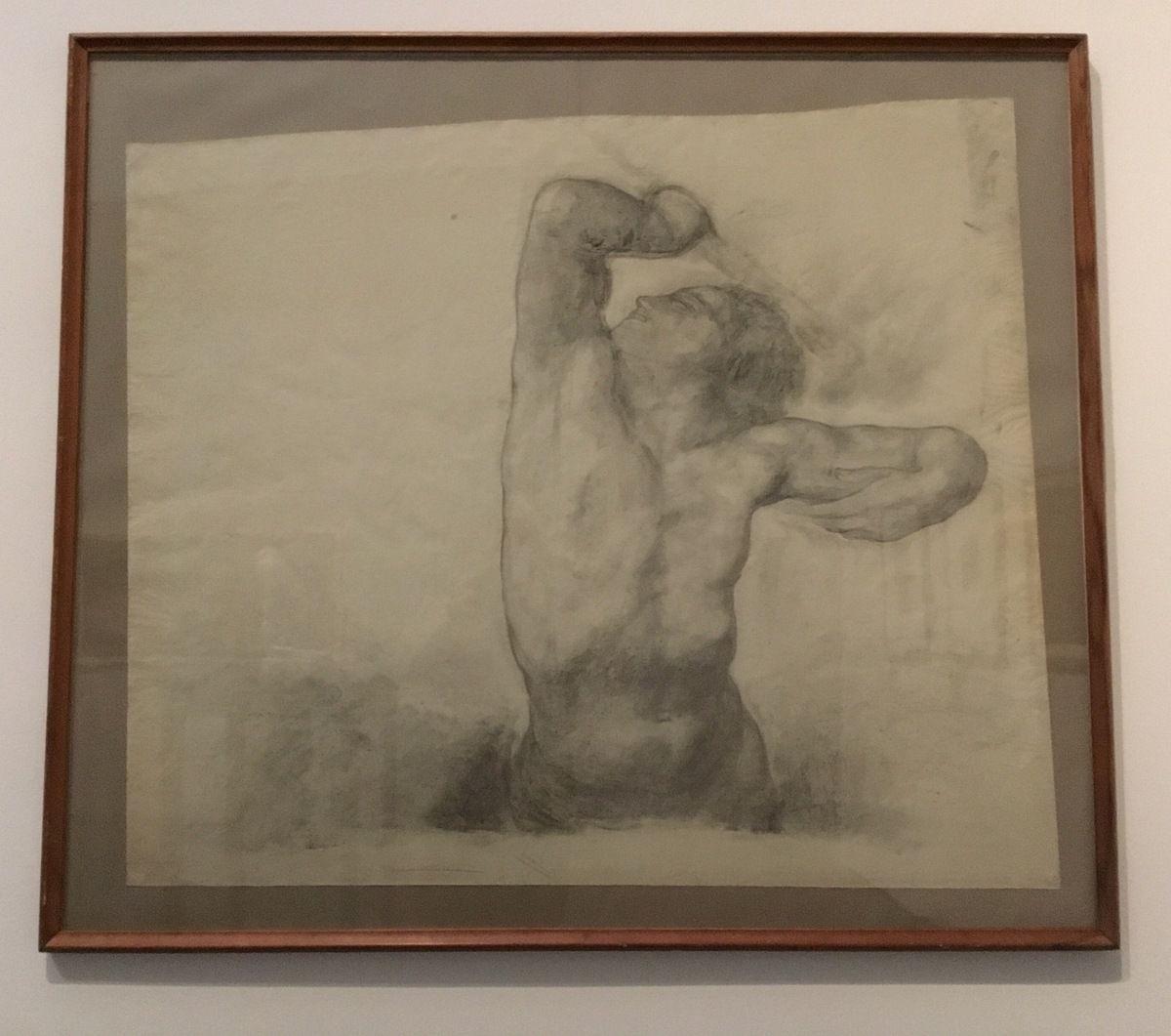 George Minne (1866-1941), Buste d'homme, fusain sur papier