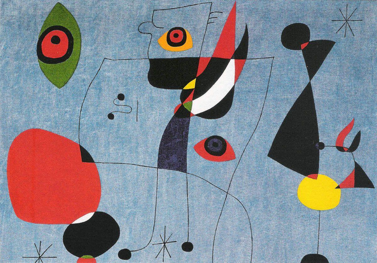 Femmes et oiseaux dans la nuit, 5 mai 1947, huile sur toile (détail)