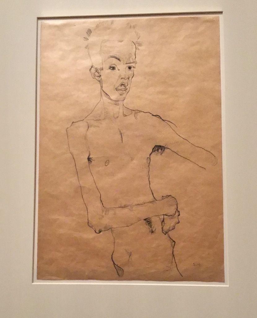 Autoportrait à la bouche ouverte, Crayon gras et crayon sur papier, Neue Galerie New York