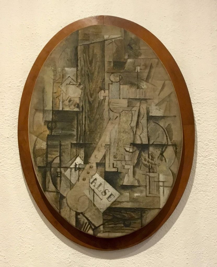 Georges Braque (1882-1963), la Clarinette, été-automne 1912, Oil with sand on oval canvas