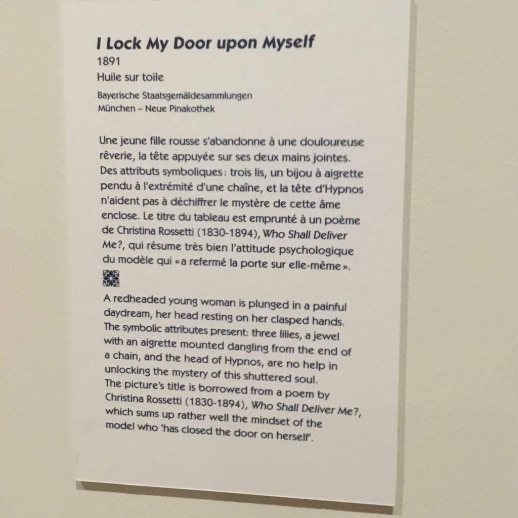 I Lock My Door upon Myself, 1891, Huile sur toile, 72 x 140 cm, Bayerische Staatgemäldesammlungen, München, Neue Pinakothek