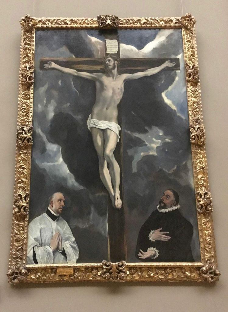 Domenico Theotocopoulos dit El Greco, Le Christ en croix adoré par deux donateurs, Huile sur toile, vers 1600 (peint pour l'église des religieuses hiéronymites de la Reine de Tolède)