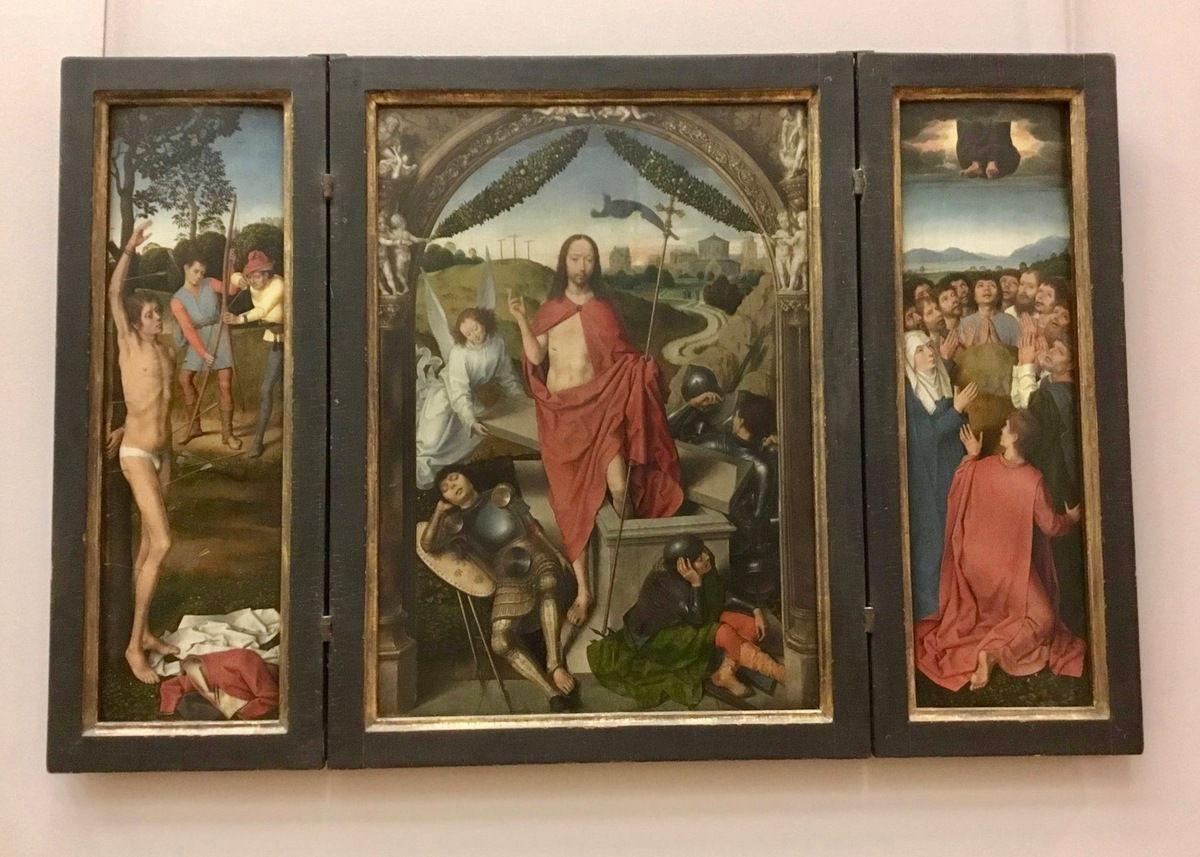 Hans Memling, Triptyque de la résurrection du Christ, Huile sur bois, après 1490 (volet gauche : le Martyre de saint Sébastien ; volet droit : l'Ascension du Christ)