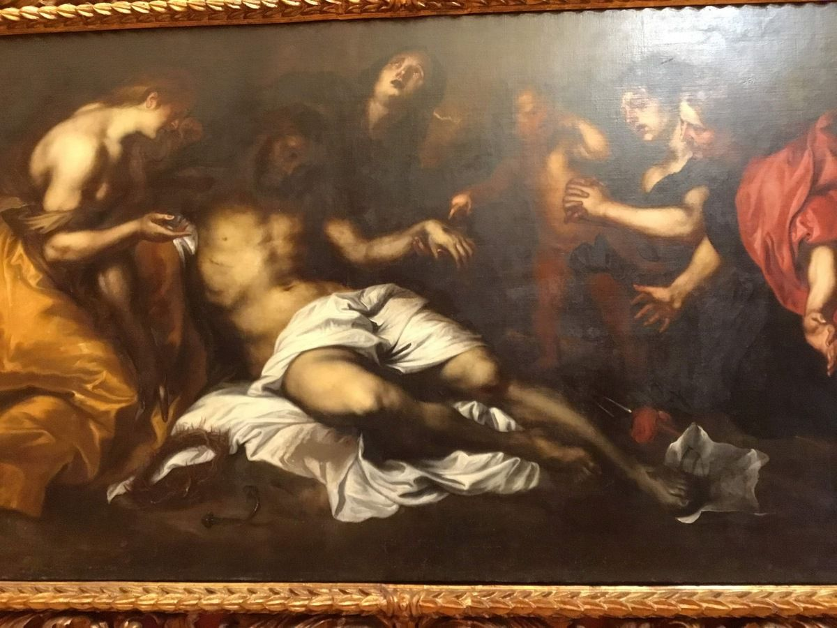 Anton Van Dyck (e bottega), Compianto sul Cristo morto, Olio su tela, cm 131 x 254 (Provenienza : Palermo, abazia di San Marino delle Scale)