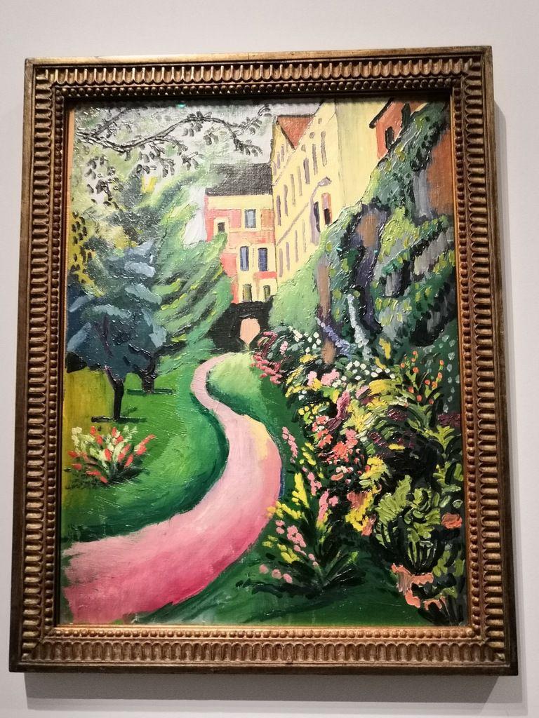 August Macke, Notre jardin en fleurs, 1911, Huile sur toile sur carton, 64 x 47,5 cm, Hambourg, Kunsthalle