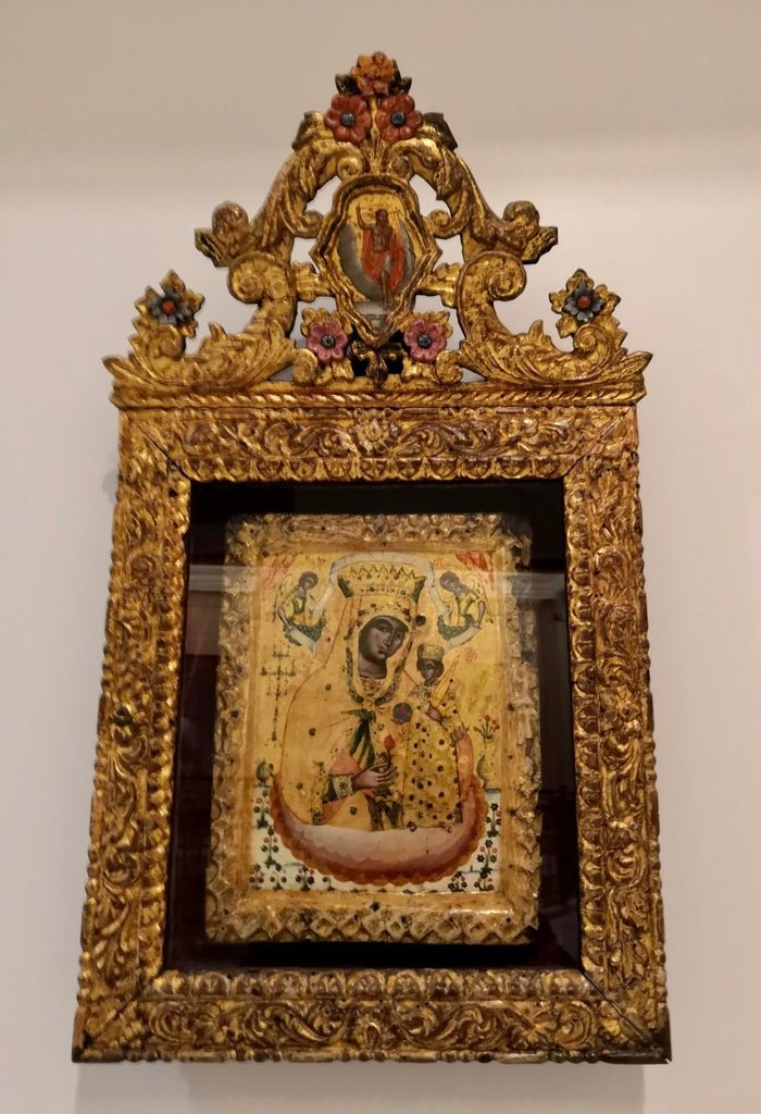 Virgin the Unfading Rose. Second half of 18 th c. Icon in a wood-carved gilded icon-stand from Asia Minor.