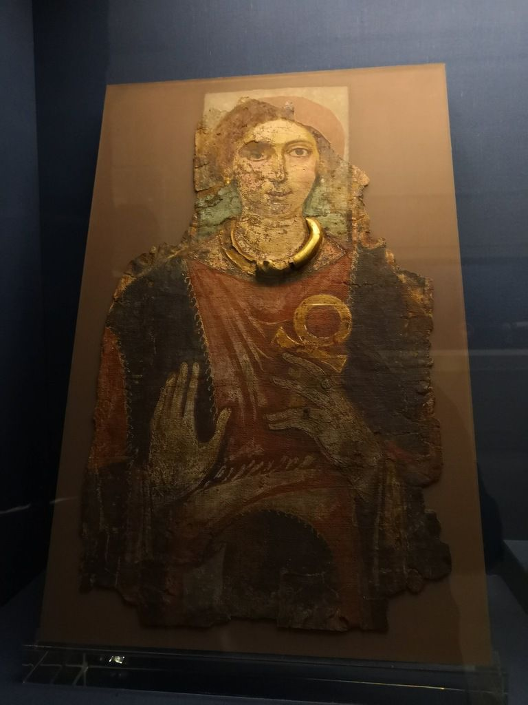 Female funeral portrait painted in tempera on linen. From Antinoë Egypt, first three decades of the 3rd c. AD.