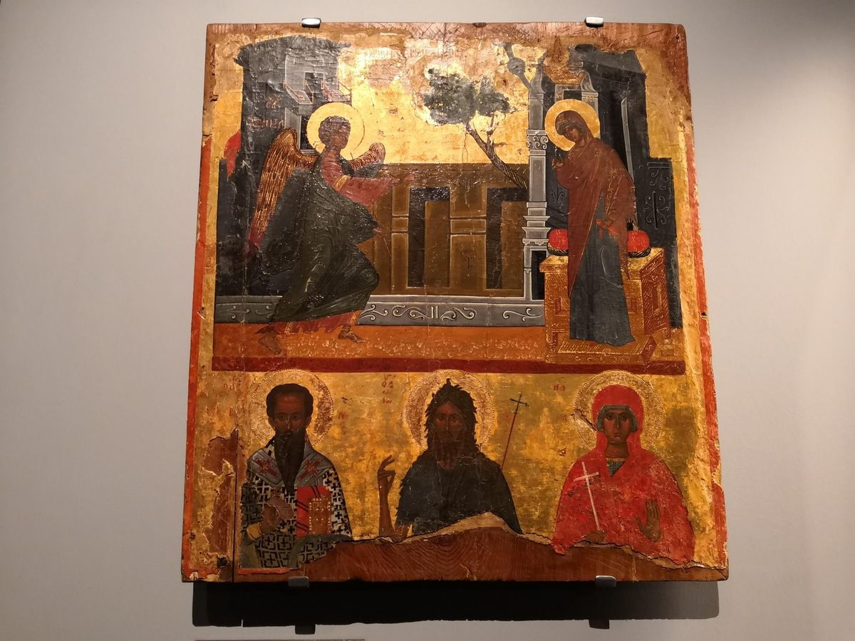 The Annunciation and saints [St Basil, St John the Baptist and St Marina]. Second half of 16th c.