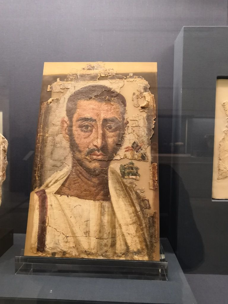 Male funeral portrait painted on linen, with pigments mixed with wax in the encaustic technique. From Antinoë, Egypt, second quarter of the 3rd c. AD.