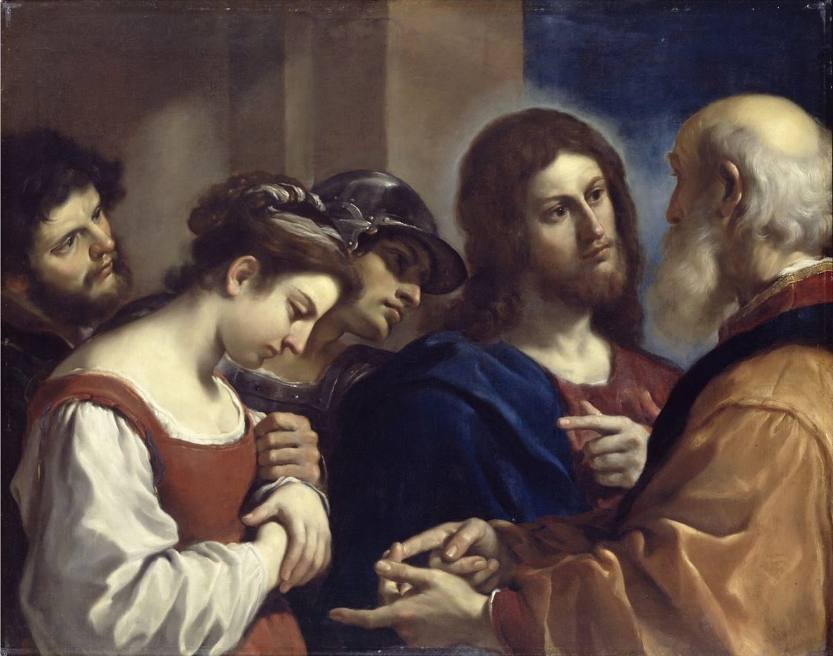 The Woman taken in Adultery, c.1621 (oil on canvas) by Guercino (Giovanni Francesco Barbieri) (1591-1666), 98.2x122.7 cm© Internet.