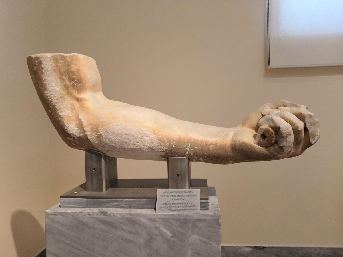 Colossal arm of a statue of Zeus. Marble. Found at Aigeira, Achaia, along with the head. Scond half ot the 2nd c. BC.