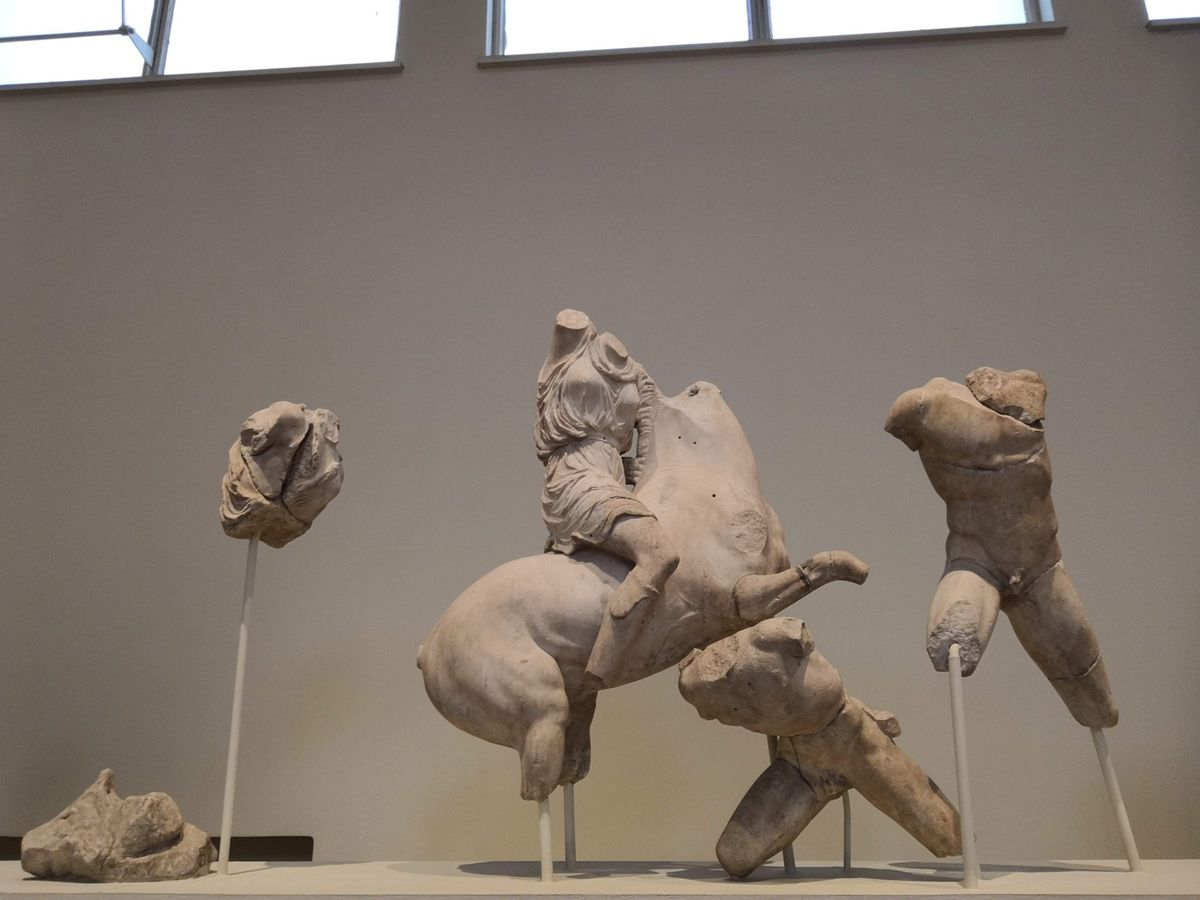 West Pediment and Akroteria of the Temple of Asklepio. Pentelic marble. About 380 BC.