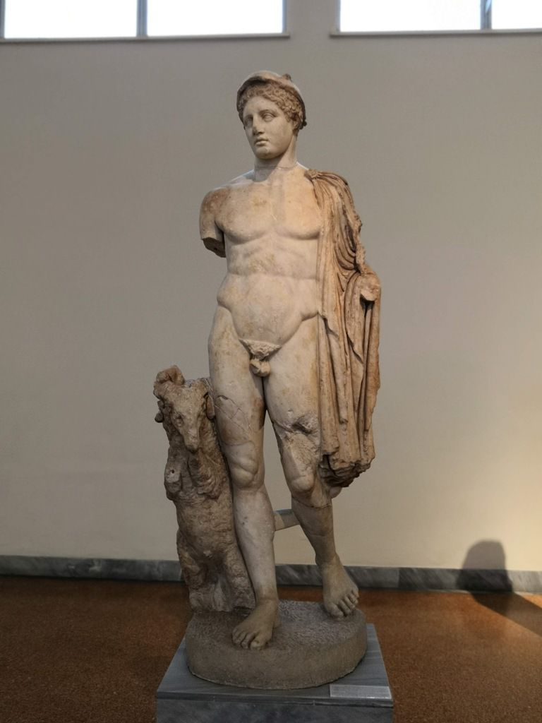 Statue of Hermes. Pentelic marble. Found in Troezen. 2nd-century AD, copy of a late 5th-century BC.