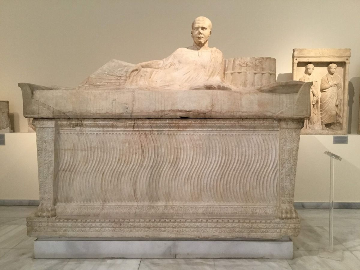 Attic sacorphagus in the form of a couch, Pentelic marble
