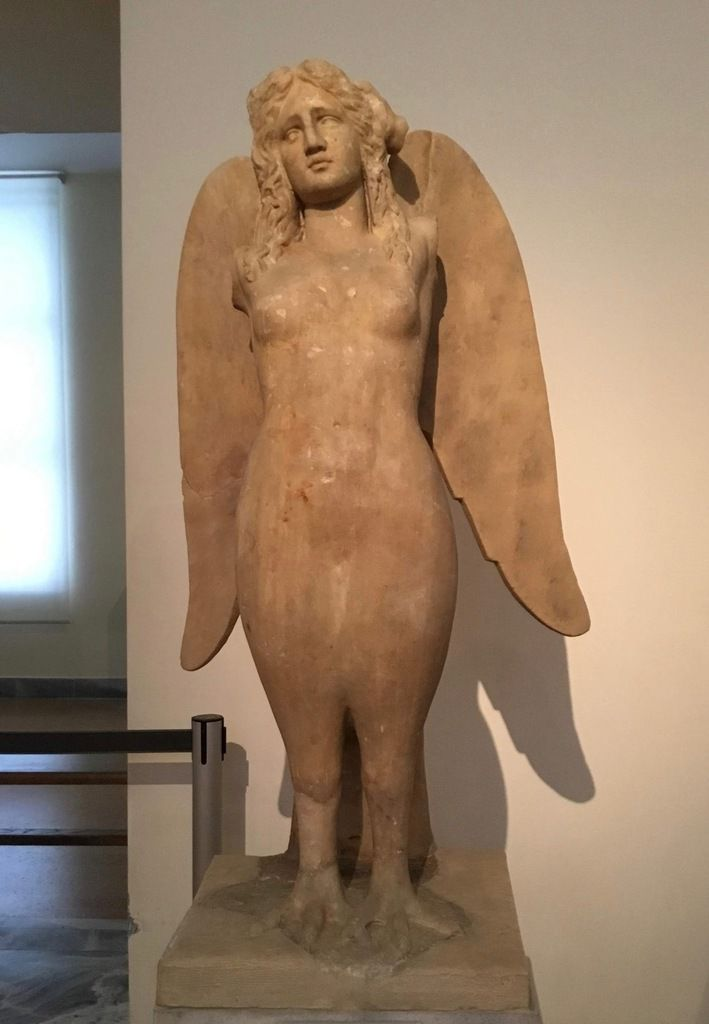 Statue of a Siren. Pentelic marble. Found in the ancient cemetery of Kerameikos. About 330 BC.