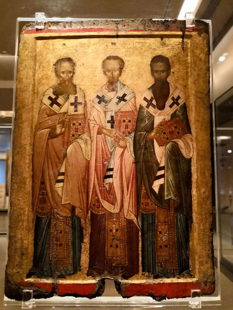 Double-sided processionnal icon with the Virgin Hodegetria (front) and the Church Fathers (back). From Thessaloniki. 14th c.
