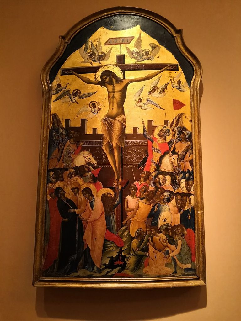 Icon with the Crucifixion. Attributed to the circle of the Venetian painter Paolo Veneziano. Mid 14th c.