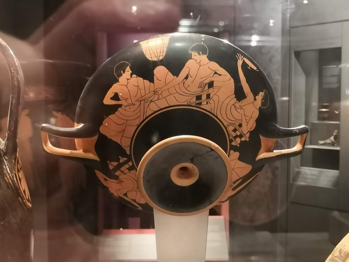 Attic red-figure kylix with symposium scenes. Attributed to the Antiphon Painter, ca. 490-480 BC.