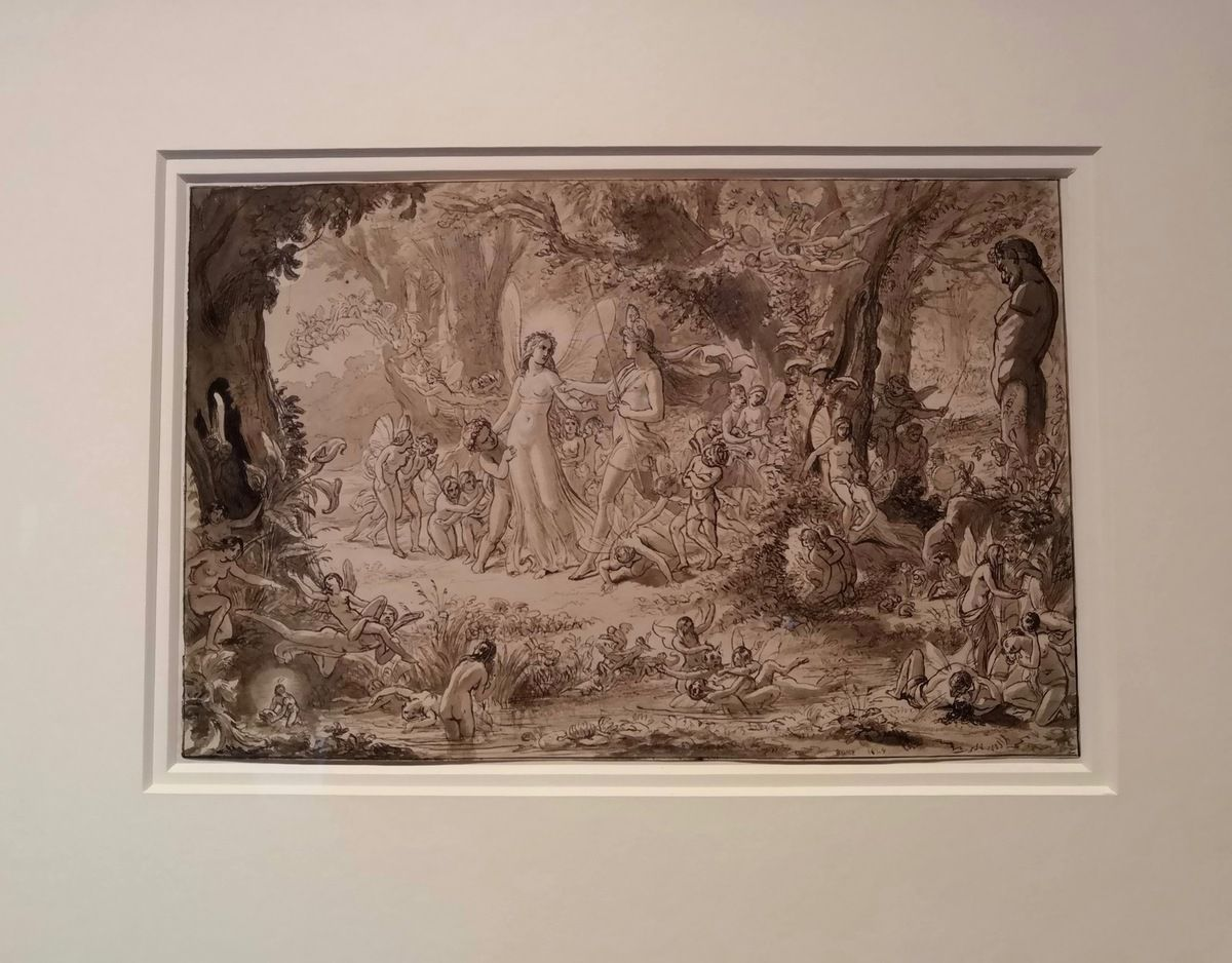 Sir John Noel Paton (1821-1901), Study for the Painting 'The Quarrel of Oberon and Titania', about 1848, Pen and wash on paper
