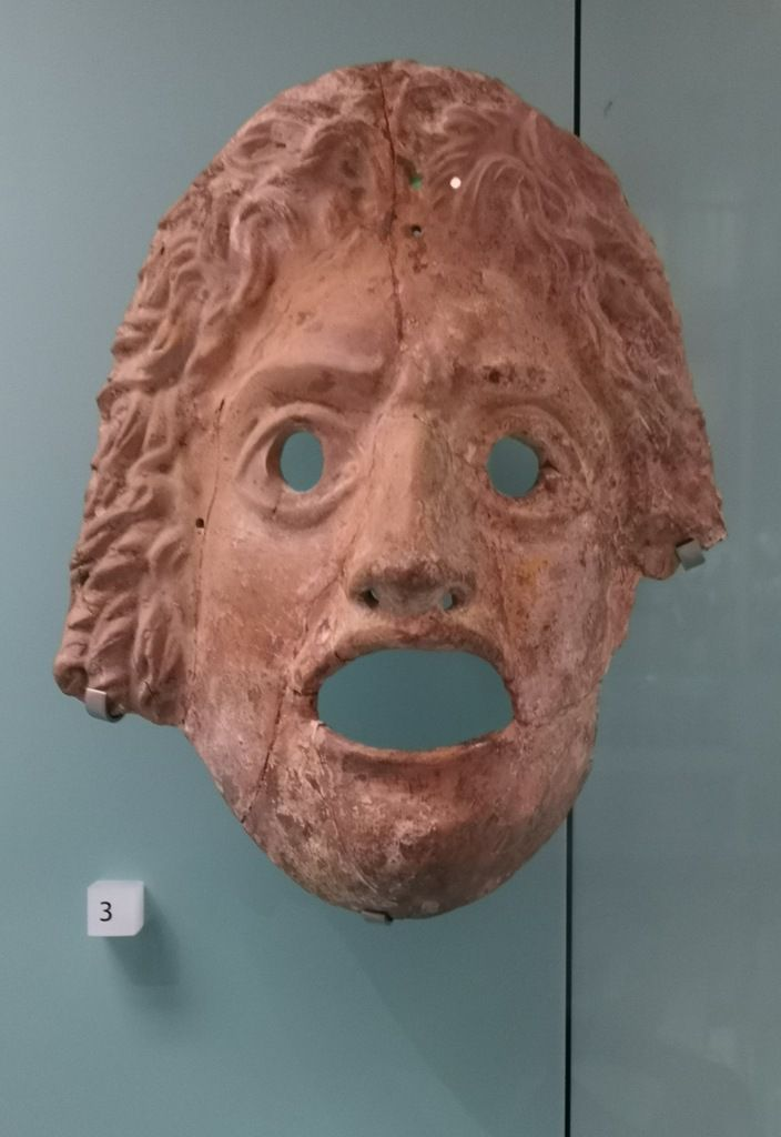 Greek theatre mask, terracotta, Greece, 2nd or 1st century BC