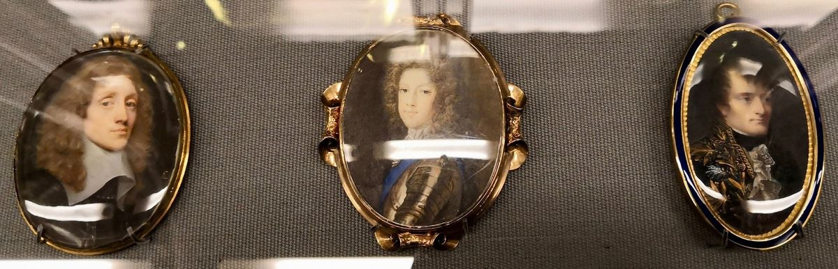 Unknown Man, called Lord Preston, by Samuel Cooper, bodycolour on vellum set in a silver-gilt frame, painted about 1655 ; Prince James Francis Edward Stuart, by Anne Cheron, watercolour on card, painted in 1704 ; Napoleon Bonaparte, by Jean-Baptiste Isabey, watercolour on ivory in a chased metal frame with blue enamel border, painted about 1806