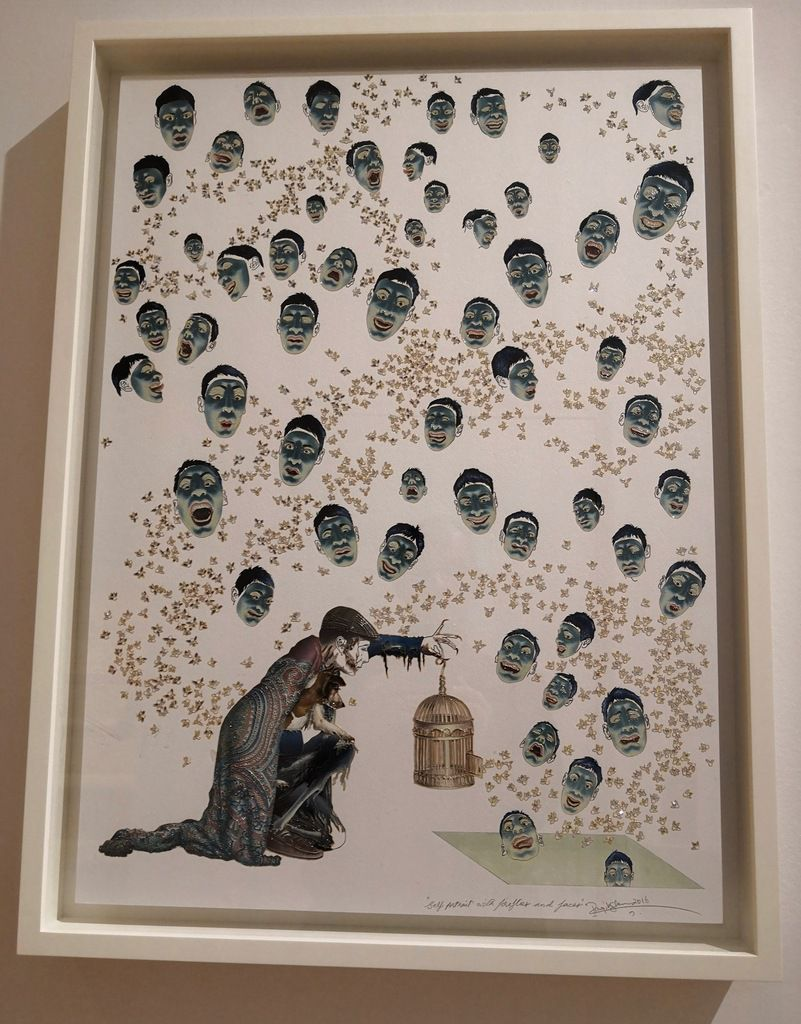 Raqib Shaw (born 1974), Self-Portrait with Fireflies and Faces, 2016, Acrylic liner, enamel and rhinestones on paper, mounted on board