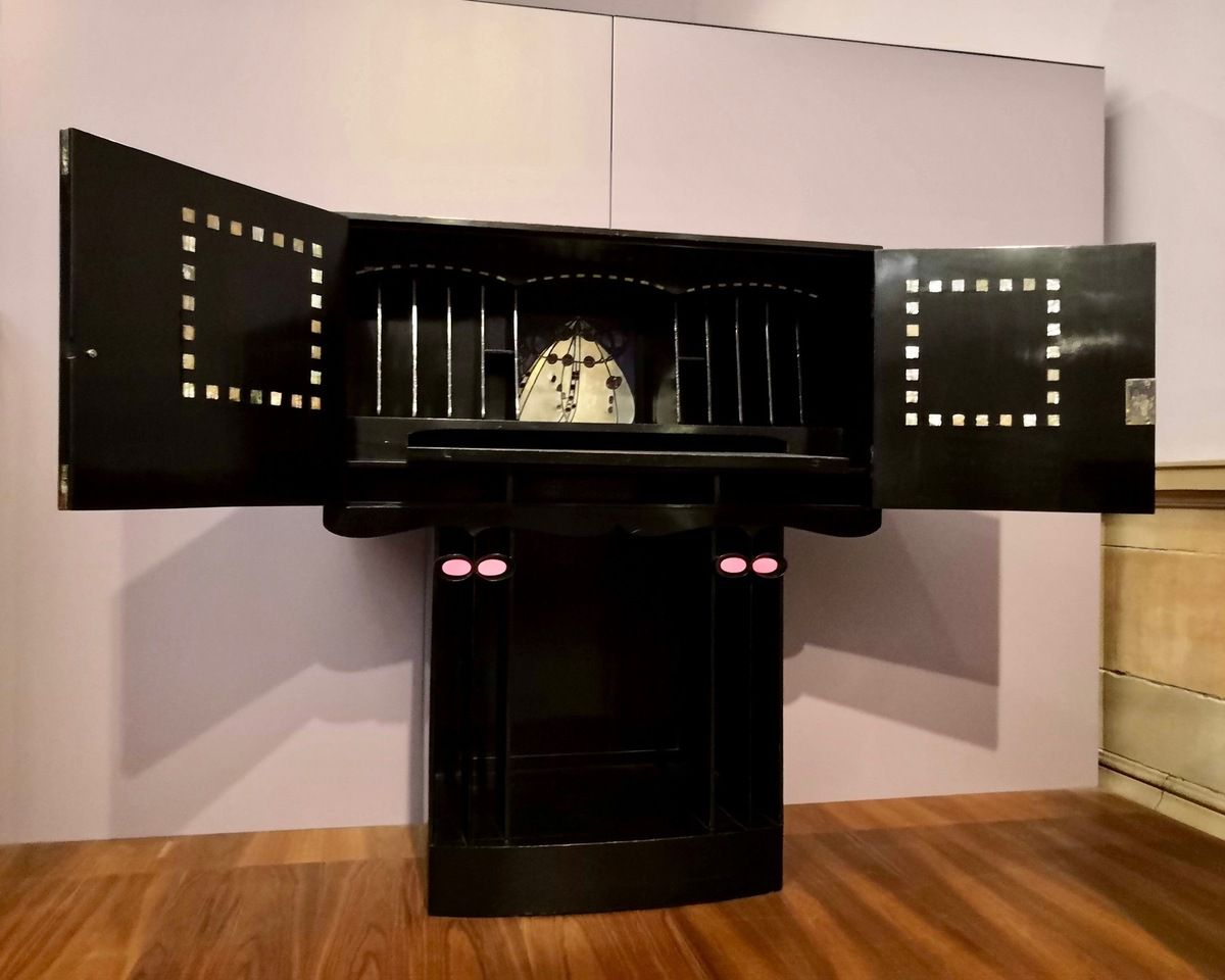 Writing desk for The Hill House, Helensburgh, Designed by Charles Rennie Mackintosh, 904, Made by Alex Martin, 1905, Ebonised mahagony, mother-of-pearl, ivory, ceramic, leaded glass and metal