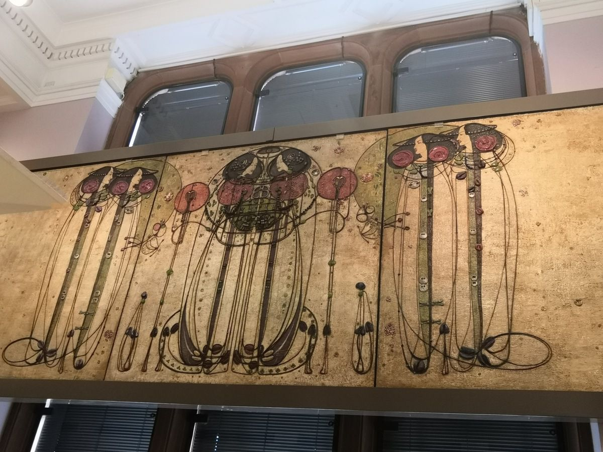 The Wassail, from the Ladies' Luncheon Room, Ingram Street Tea, 1900, Designed and made by Charles Rennie Mackintosh, Oil painted gesso plaster on hessian and scrim, twine, glass beads, thread, mother-of-pearl, tin leaf