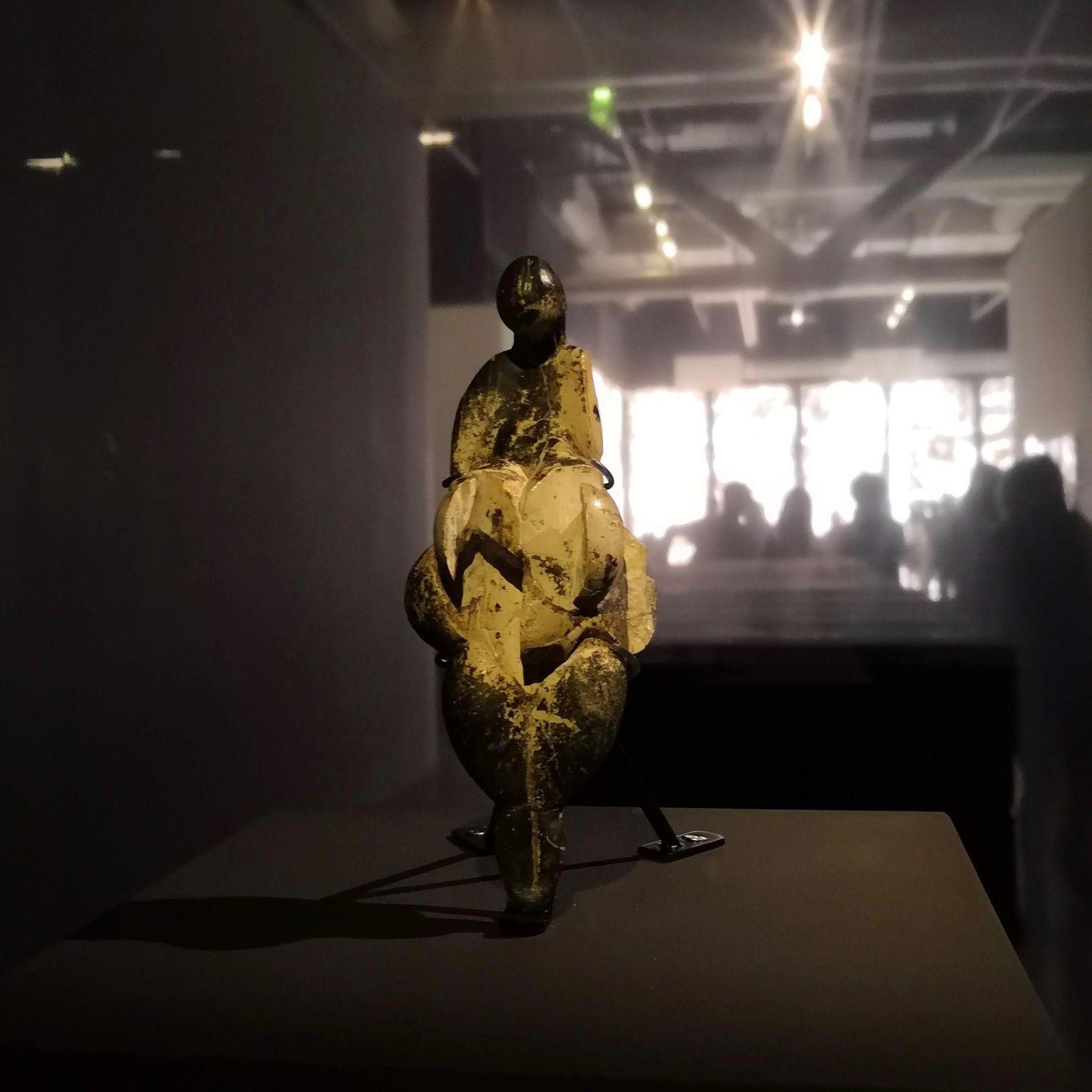 """Figure féminine dite """"Vénus de Lespugue"""" [grotte des Rideaux, Lespugue, Haute-Garonne, époque gravettienne [vers -23000 ans], découverte le 9 août 1922 par Reneé et Suzanne de Saint-Périer], Muséum national d'histoire naturelle, Paris"""
