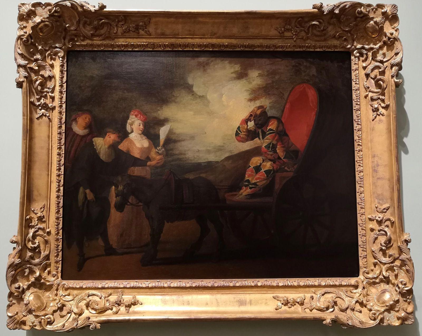Jean-Antoine Watteau, Arlequin empereur dans la lune, Vers 1707, Huile sur toile [d'après la comédie italienne Arlequin empereur dans la lune de Nolant de Fatouville]