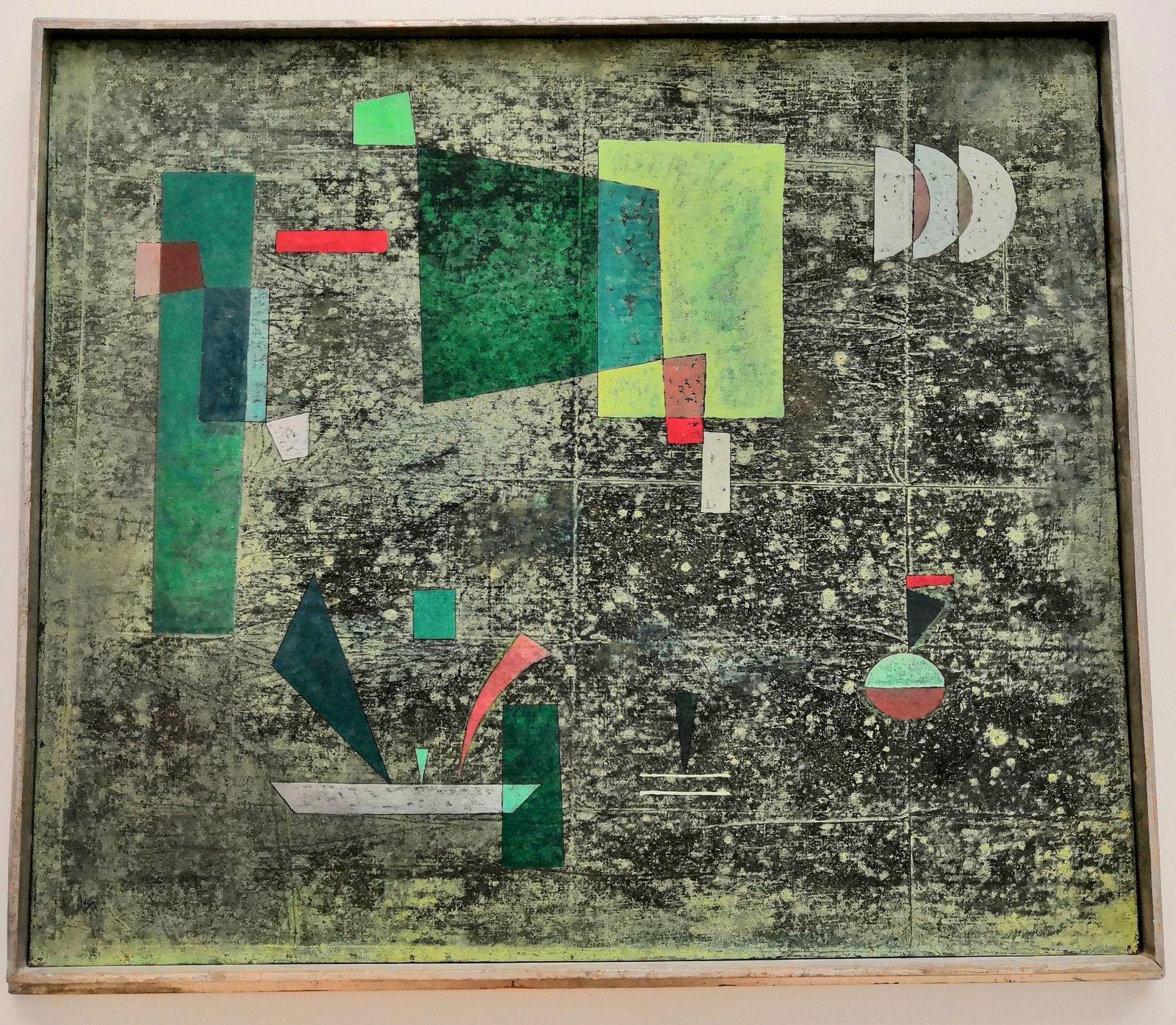 Vassily Kandinsky, Langsam heraus [Dégagement lent], 1931, Tempera et huile sur carton