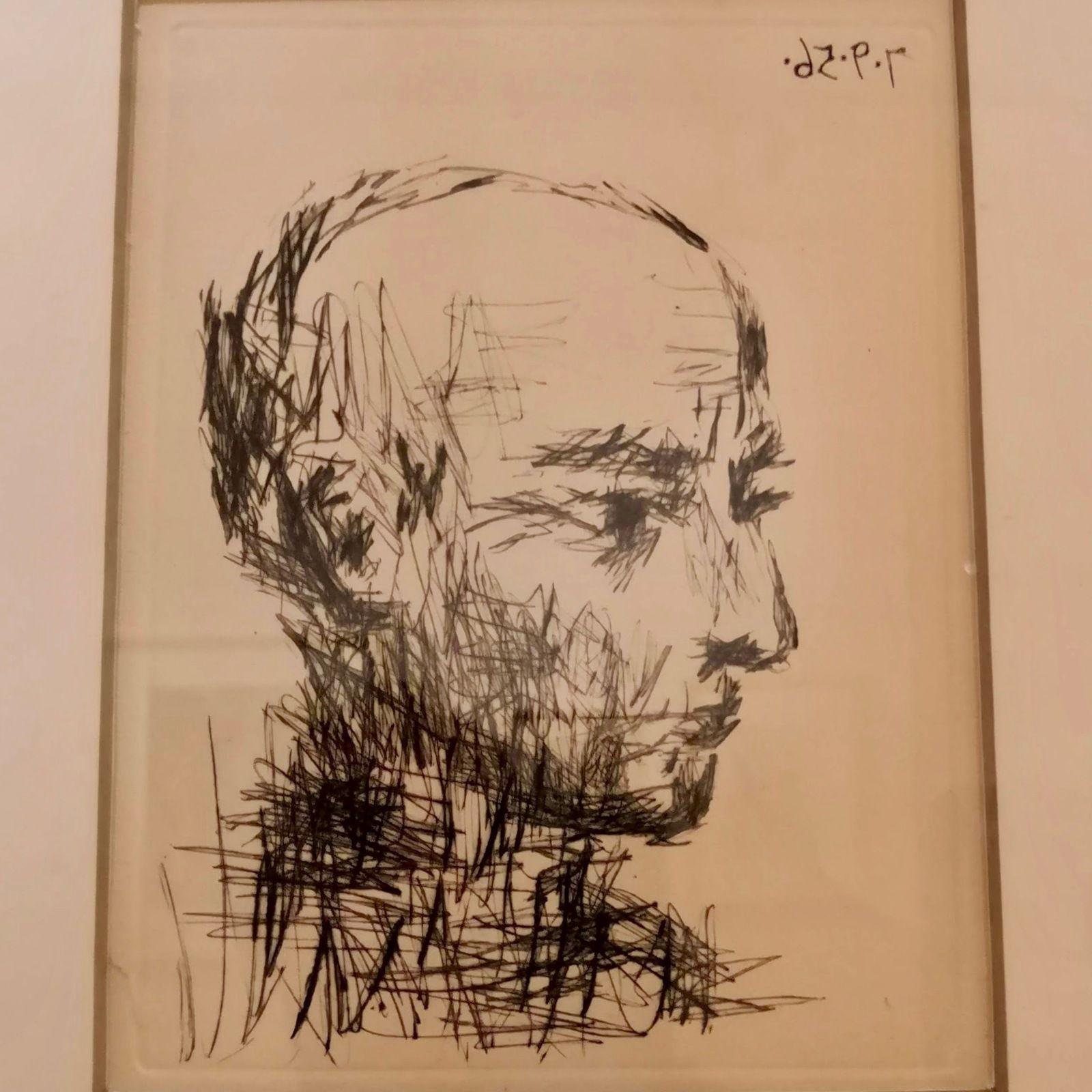 Pablo Picasso, Portrait de Max Jacob, 1956, Pointe sèche, Illustration des Chroniques des temps héroïques