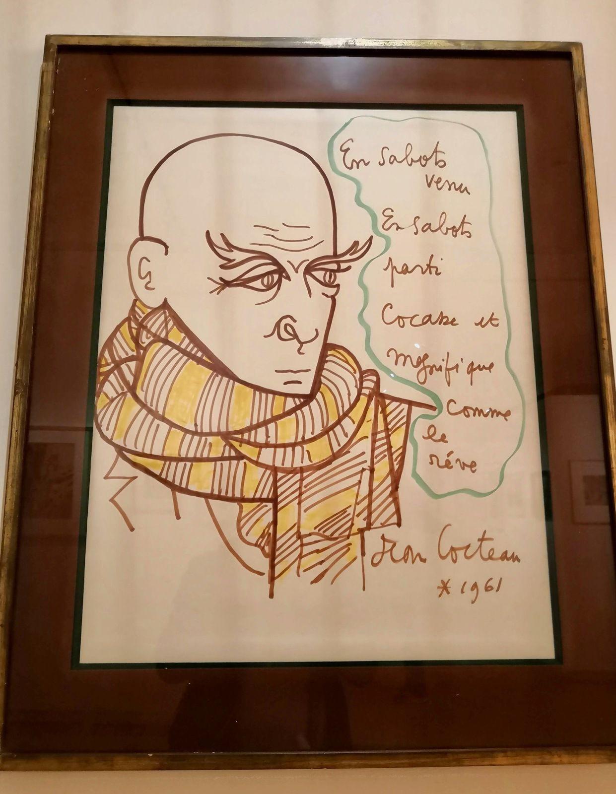 Jean Cocteau, Portrait de Max Jacob, en sabots venu, 1961, Feutres marron, jaunes et verts