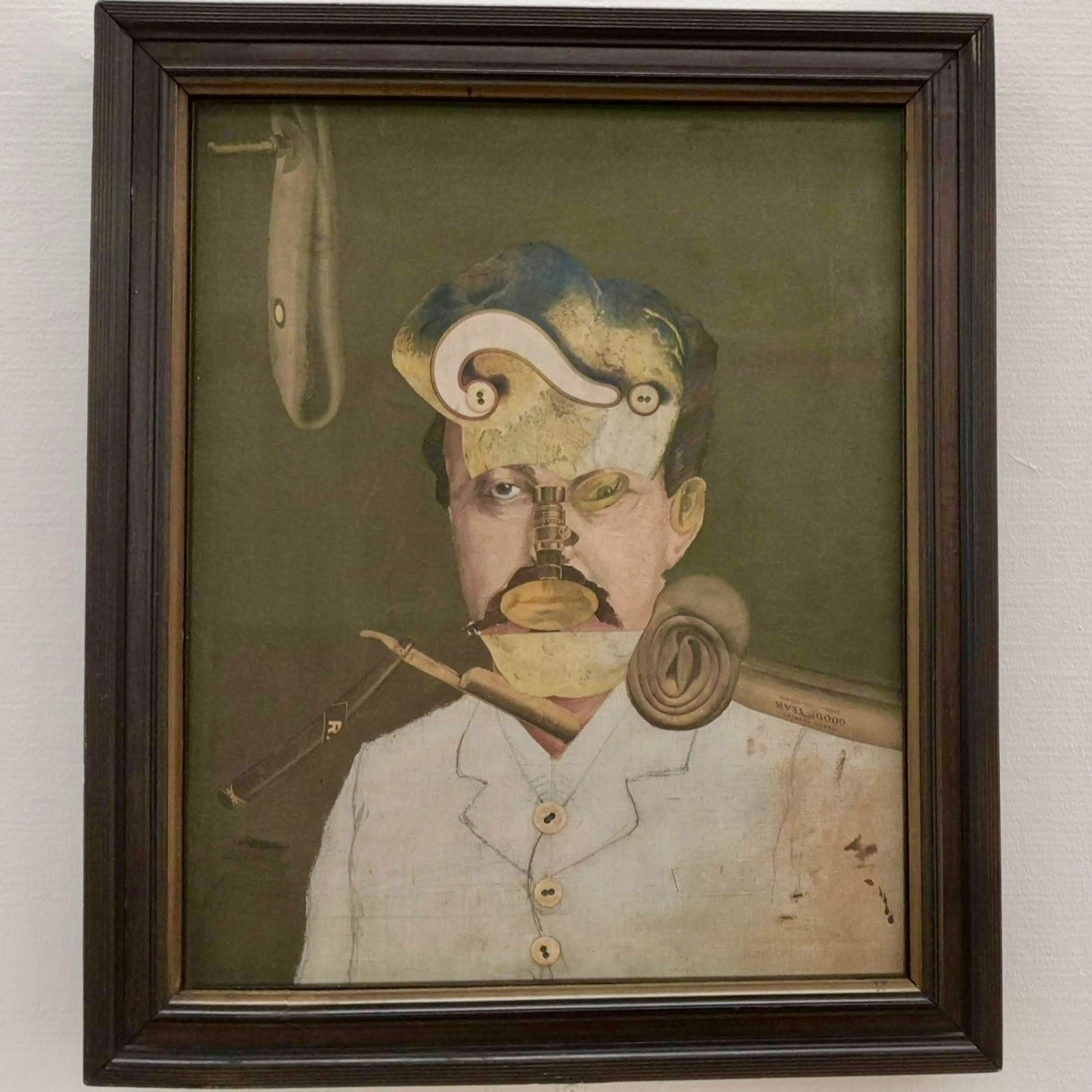 George Grosz (1893-1959), Remember Uncle August, the Unhappy Inventor, 1919, Huile, crayon et collages sur toile
