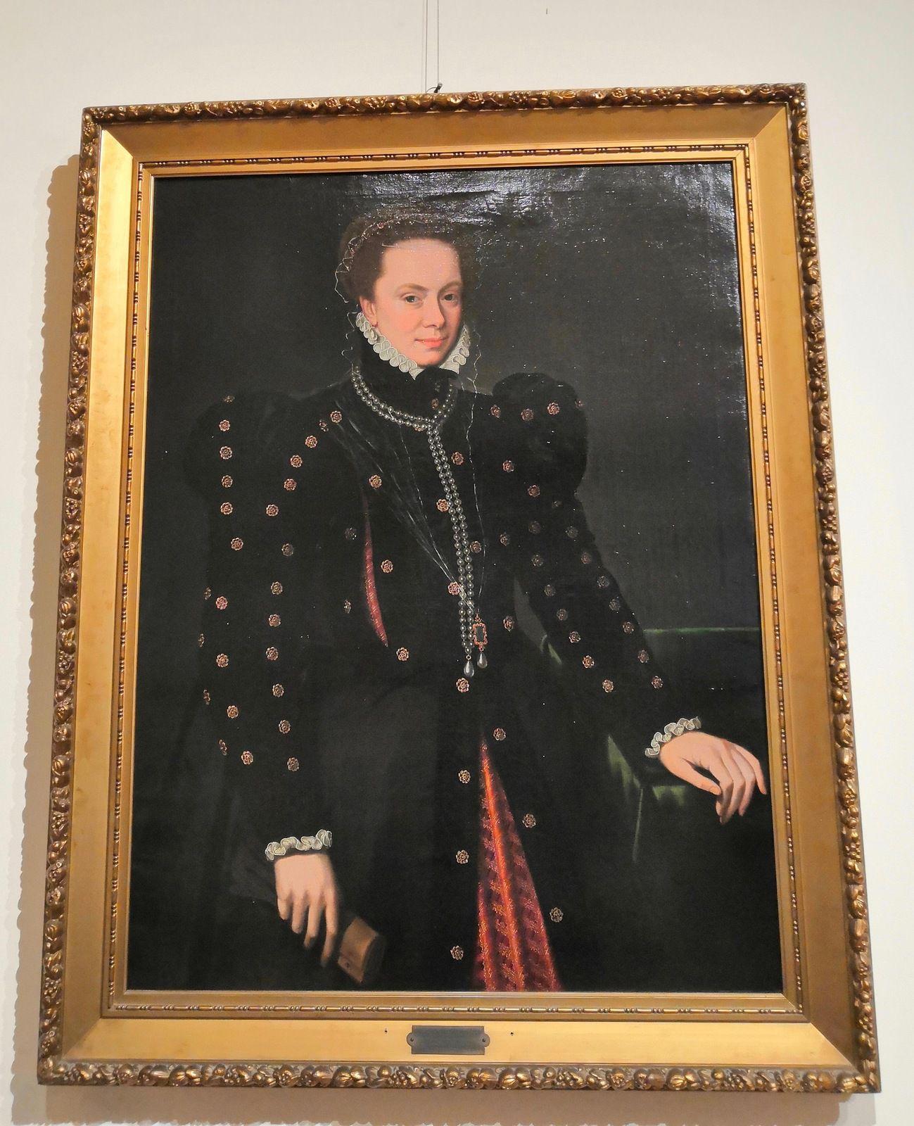 Bottega di Antonio Moro (Antoon Mor), Margherita d'Austria Duchessa di Parma e Piacenza, seconda metà XVI sec., Olio su tela