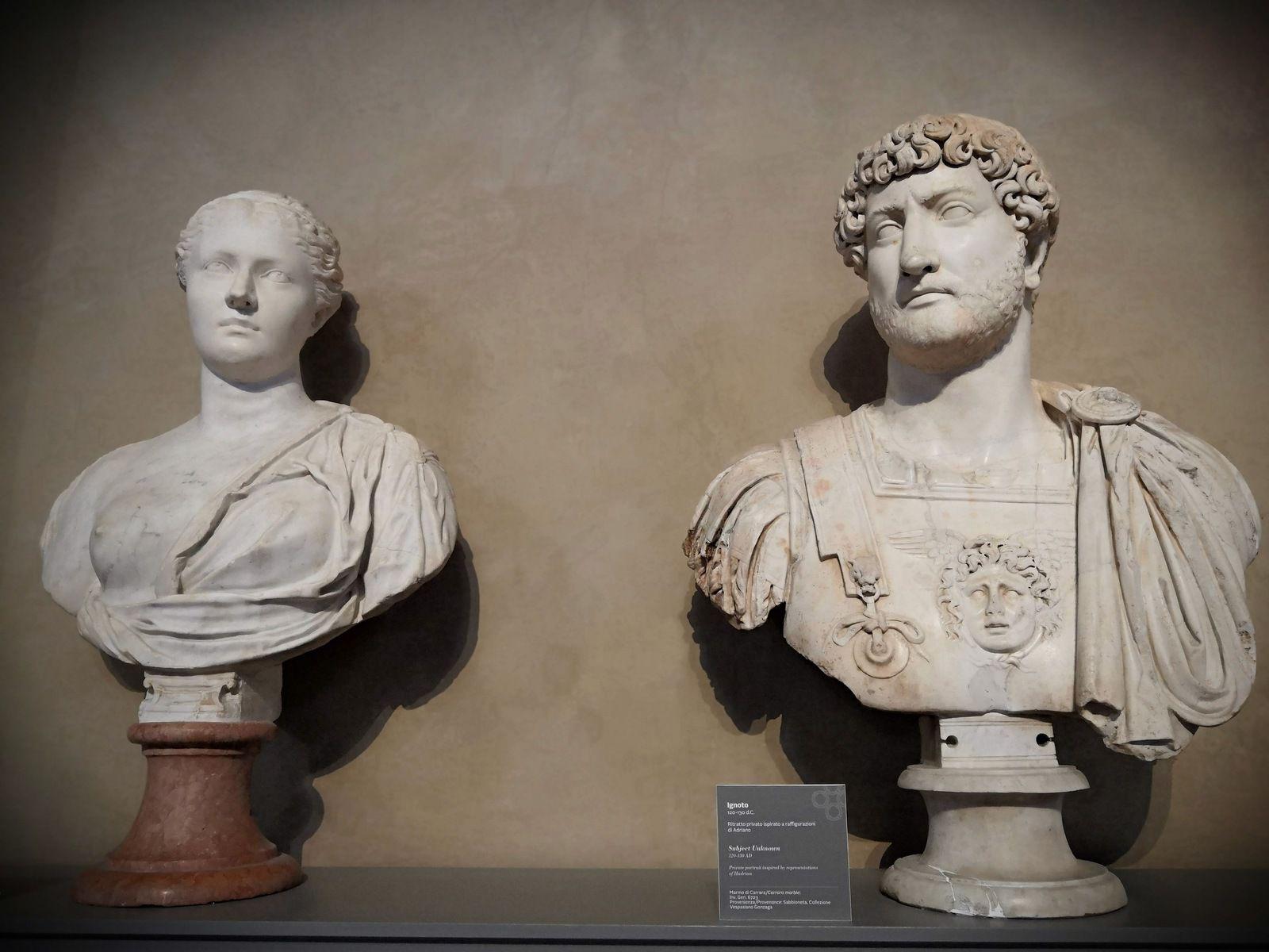 Ignoto 120-130 d.C., Ritratto privato ispirato a raffigurazioni di Adriano, Marmo di Carrara ; Vibia Sabina, moglie di Adriano, Secondo quarto dell III sec. D.C.