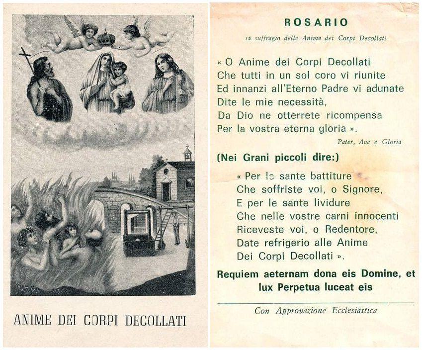 Auguri Di Natale In Dialetto Siciliano.Anime Dei Corpi Decollati Devozione Storia Rosario E Preghiere