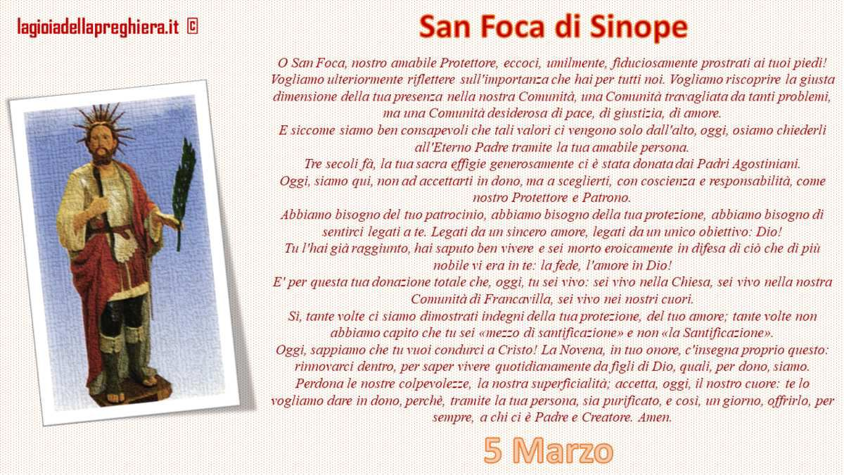 5 Marzo : San Foca di Sinope, martire - preghiera, litanie e vita