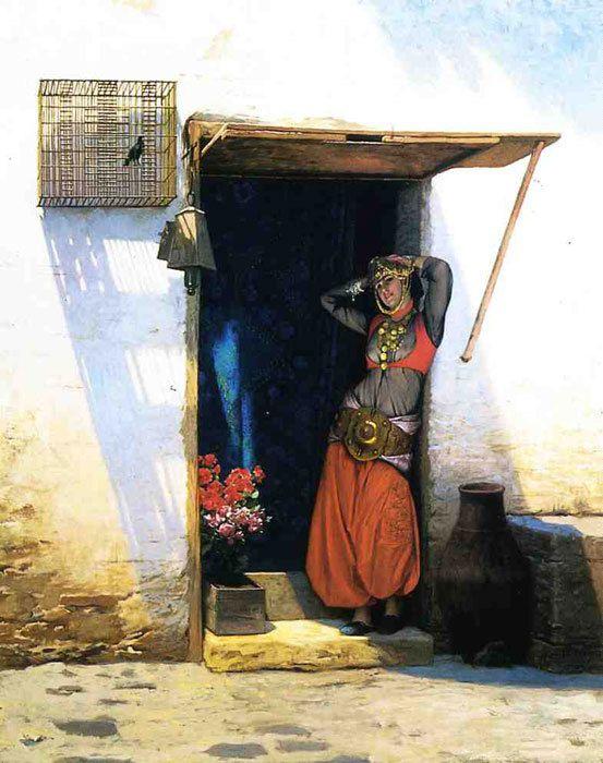 Jean-Léon Gérôme - Femme du Caire devant sa porte, 1887