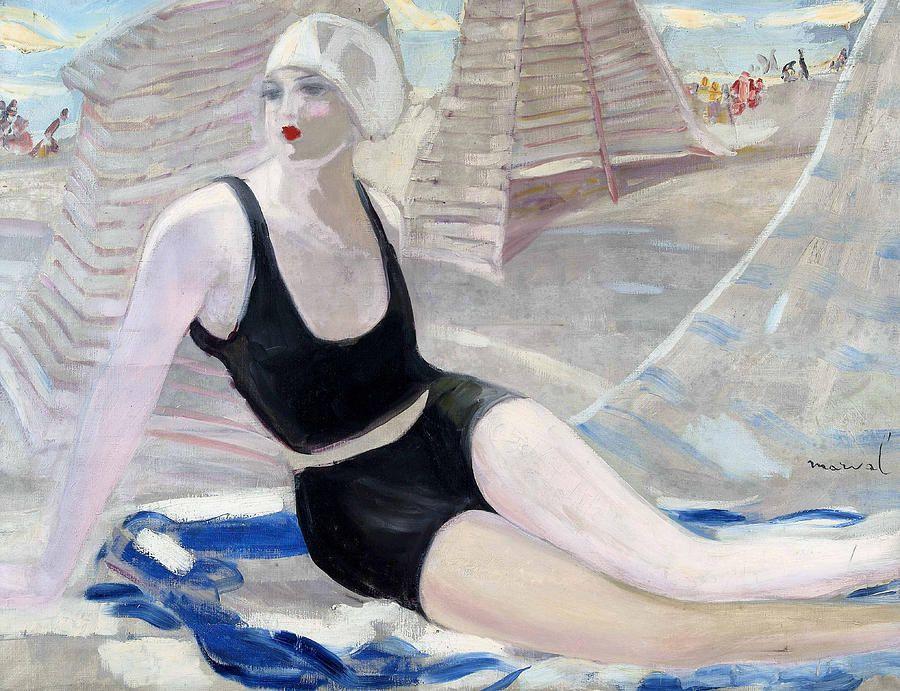 Jacqueline Marval - Biarritz - Baignause en maillot de bain noir, 1923