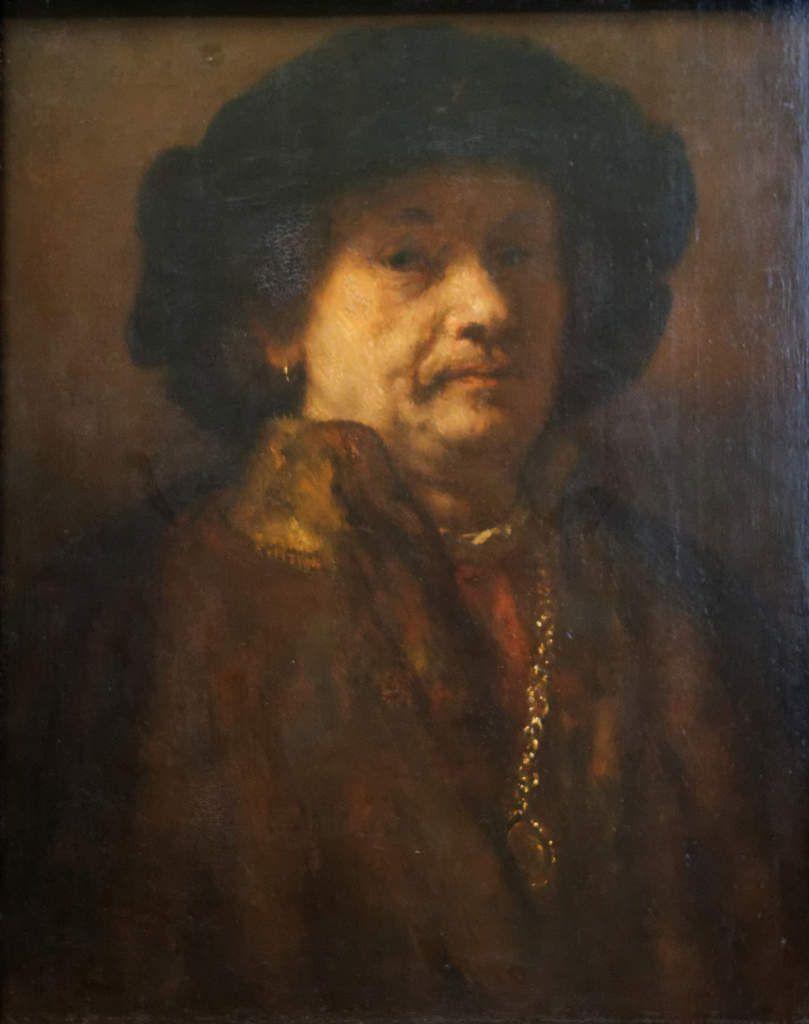 Rembrandt - Autoportrait dans un manteau defourrure avec une chaine en or et une boucle d'oreille, 1655