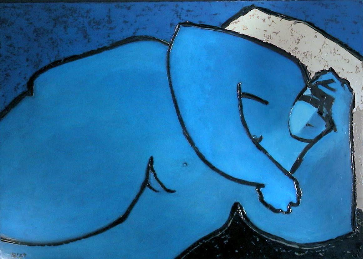 Amar  Eric Taleb - Nu bleu, h/t 92x63cm, sd