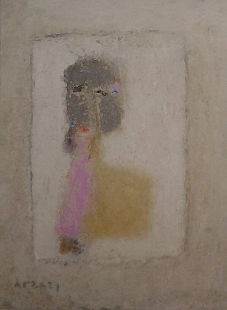 Arzazi - Femme sdf, huile et poussière sur carton, 2018