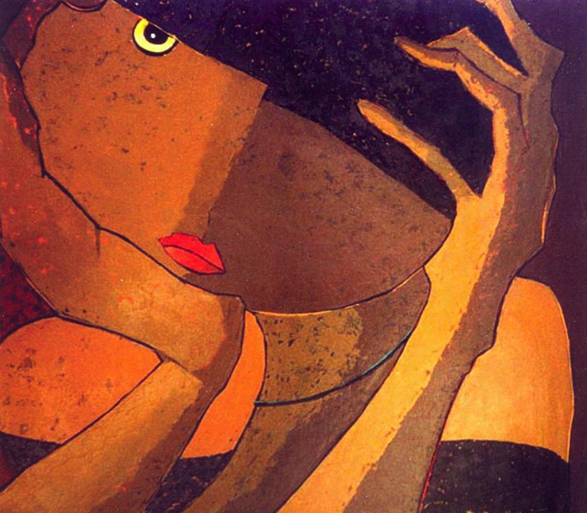 Amar  Eric Taleb - Tête de lune, h/t 120x120cm, sd