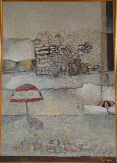 Guermaz - Les deux parasols, 1976, hst, 80x57cm