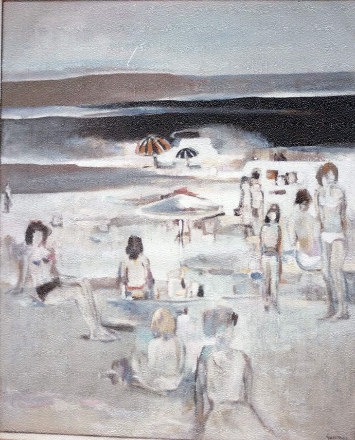 Guermaz - Plage déchiffrable, 1982, hst, 61x50cm