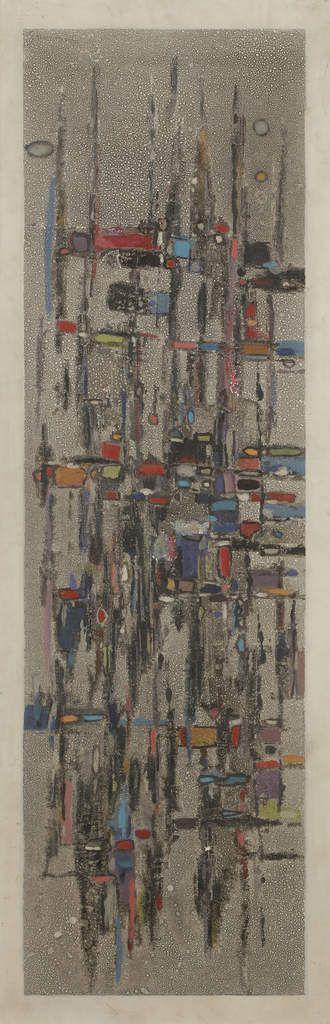 Guermaz - Thème du feu d'artifice de Debussy, 1965, hst, 90x30cm