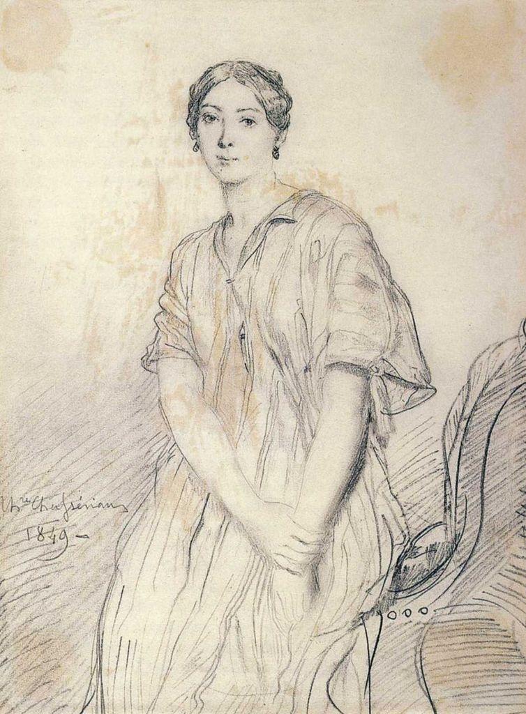 Théodore Chassériau - Portrait au crayon d'Alice Ozy, 1849