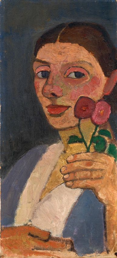 Paula Modersohn-Becker - Autoportrait with red flower wreath and chain, 1907.